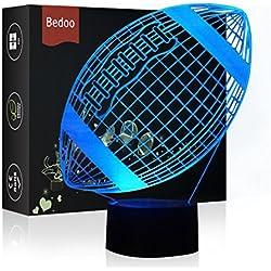 HeXie LED-Nachtlichter 3D Illusion Nachttischlampe 7 Farben ändern Schlafen Beleuchtung mit Smart Touch Button Cute Geschenk Warming Present Kreative Dekoration Ideal Kunst und Handwerk (Fußball)