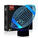 Luz de Noche LED Ilusión 3D Lámpara de Mesa de Cabecera 7 colores iluminación con el botón de tacto inteligente Lindo regalo calentamiento actual Decoración creativa ideal de arte y artesanía (Rugby)
