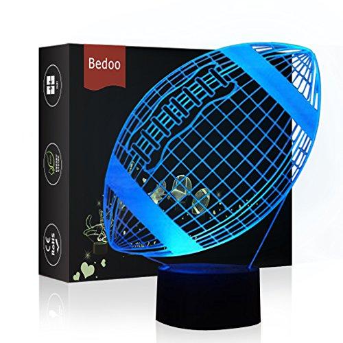 HeXie LED-Nachtlichter 3D Illusion Nachttischlampe 7 Farben ändern Schlafen Beleuchtung mit Smart Touch Button Cute Geschenk Warming Present Kreative Dekoration Ideal Kunst und Handwerk (Fußball) (Handwerk Ideen Und Halloween-kunst)