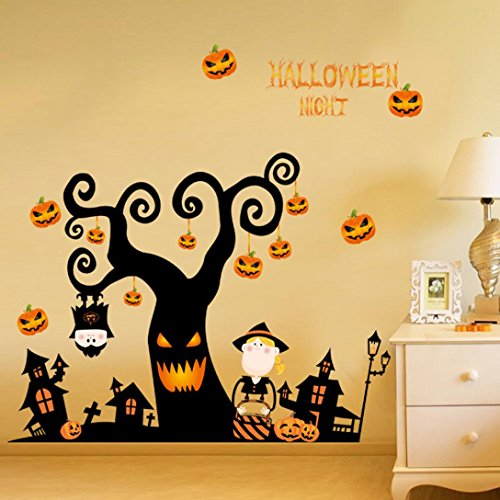 JIANGFU Halloween Wandaufkleber,Happy Halloween Haushalt Zimmer Wandaufkleber Mural Decor Decal Removable Neu