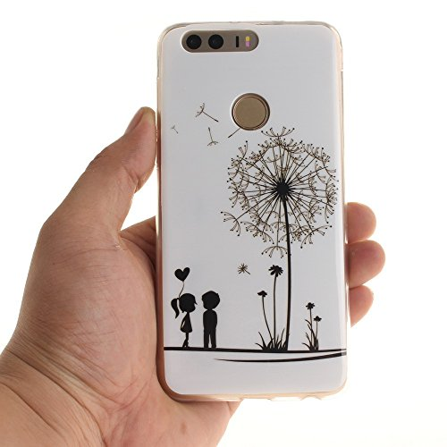 Huawei Honor 8 Coque,BLKJ Huawei Honor 8 Housse Etui TPU Silicone Clair Ultra Mince Anti-Scratch Back Case Cover pour Honor 8 - 1 Gratuit Touch Pen (Wind chime in Black) Dandelions