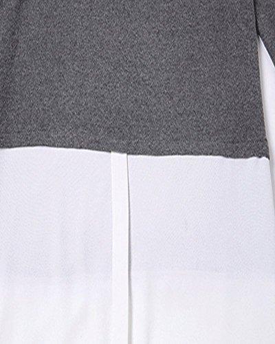 SaiDeng Femme Épissure Manche Longue Décontractée Mi-longueur Basic T-shirt Robe Foncé Gris