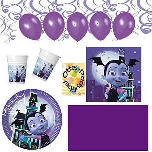 HHO Vampirina-Party-Set Vampir-Party-Set 76tlg. für 16 Gäste Teller Becher Servietten 2 Tischdecken Luftballons Spiralen