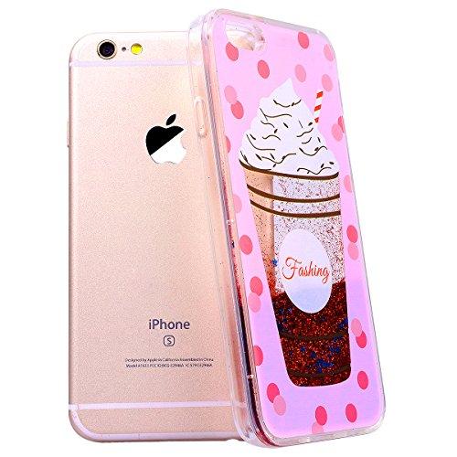 SMART LEGEND iPhone 6S Plus / iPhone 6 Plus Weiche Silikon Hülle Durchsichtig Glatt Glitzer Weich TPU Handy Tasche Soft Case Bumper Schutzhülle Transparent Hülle mit Weiß Muster Handyhülle Crystal Kir Eis