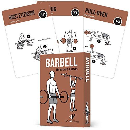 Karten Barbell ausüben, indem Newme Fitness–Enthält 50Barbell Übungen–Total Body workout- ideal für zuhause Workouts–Ihr Personal Trainer–Groß Langlebig Wasserdicht 8,9x 12,7cm Karten Große Flip-chart