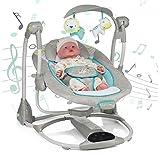 AIBAB Sdraiette E Dondolini Baby Sedia A Dondolo Elettrico Intelligente Musica USB Interfaccia Multi-Funzione Pannello Di Controllo Estate Artefatto Sonno Confortevole,Gray