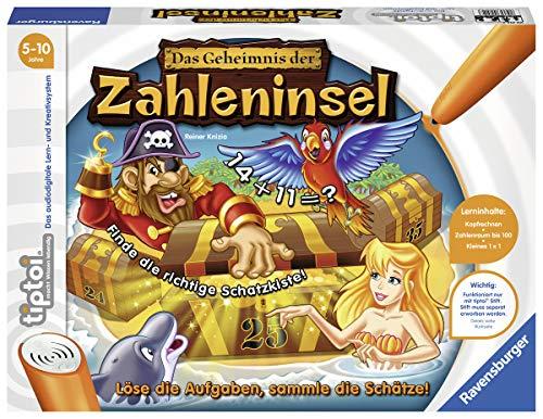 """Ravensburger tiptoi Spiel \""""Das Geheimnis der Zahleninsel\"""" - 00512 / Mathematik lernen in 4 Schwierigkeitsstufen: Spannendes Lernspiel für Kinder von 5 - 10 Jahre"""