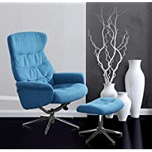 Loungestuhl, Loungesessel, Relaxstuhl, Relaxsessel, Liegesessel, TV-Sessel, Ruhesessel, Fernsehsessel, Wohnzimmersessel, Hocker,-blau