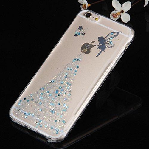 iPhone 6 6S Coque Housse Etui, iPhone 6 Rose Coque en Silcone Clair Ultra-Mince Etui Housse avec Glitter Diamant, iPhone 6S Silicone Coque Pink Slim Transparent Soft TPU Bumper Case with Bling Diamond Ange Glitter-bleu