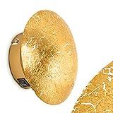 Wandleuchte MEZIA aus Metall in Gold – Runder Wandspot mit Struktur-Effekt für Wohnzimmer, Schlafzimmer, Flur - Wandstrahler G9-Fassung – Glänzende Wandleuchte LED-fähig für drinnen