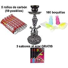 PAIDE Cachimba Forma Marihuana - Shisha narguile Hookah - 50 Pastillas de carbón, 100 boquillas