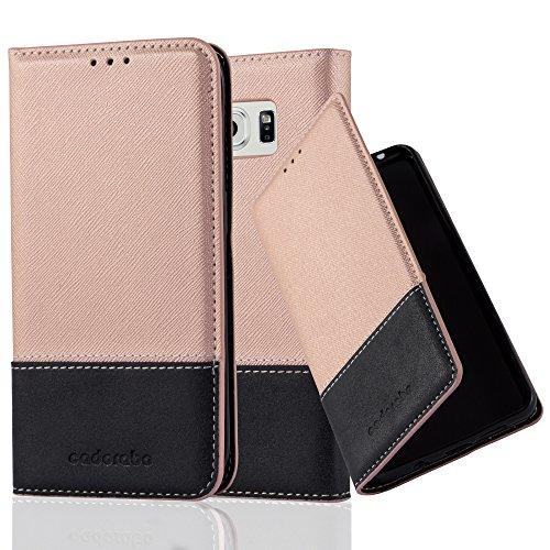 Cadorabo Hülle für Samsung Galaxy S6 Edge - Hülle in Rose Gold SCHWARZ - Handyhülle mit Standfunktion & Kartenfach aus Einer Kunstlederkombi - Case Cover Schutzhülle Etui Tasche Book