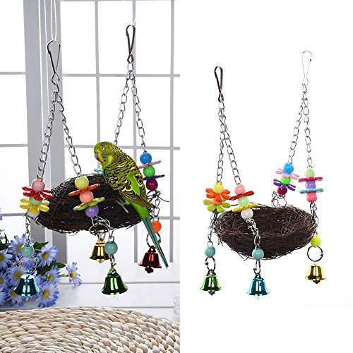 Natural Rattan Nest Bird Swing Toy with Bells for Parrot Budgie Parakeet Cockatiel Conure Lovebird Finch Cockatoo African Grey Cage Perch Stand