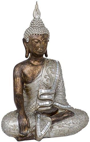 Maturi–Thai Buda Sentado Tierra Tocar Adorno, de Metal, 10,16x 24.13x 34.29cm
