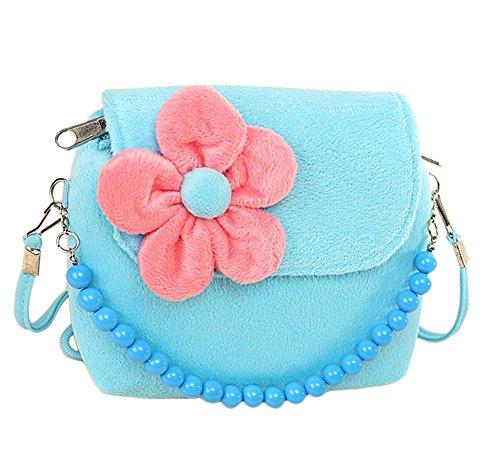 Westeng bambini Little Girl s in rilievo borsa Principessa sveglia pacchetto borsa della moneta del velluto per il migliore regalo per 1-6 anni Blue