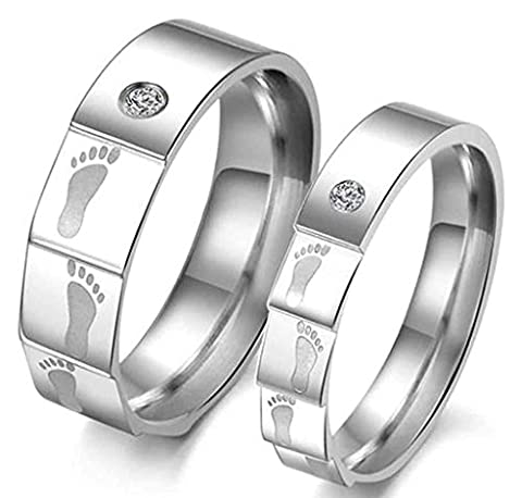 Aooaz Jewelry Stainless Steel Ring Charm Lovely Footprint Couple Engagement Wedding Band Silver for