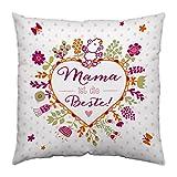 Sheepworld 44438 Baumwoll-Kissen mit Spruch Mama ist die Beste, Geschenk-Kissen, 40 cm x 40 cm
