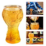 UBEGOOD Bicchiere di Birra, Tazza di Birra in Vetro Coppa del Mondo Birra Incisione Calcio Boccale di Birra 2018 Russia FIFA per Birra Whisky Vino Succo Tifosi di Calcio Party 400ml, Trasparente