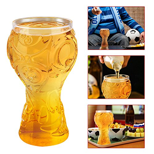 UBEGOOD Glas Bierkrug Tasse Bierkrüge mit Gravur 2018 Russland FIFA Fußball Welt Trophäe Form Geschenkidee für Bierfreunde für Familien Bar Club Partyangebot Camping Feier Vatertag, 0.4L Transparent