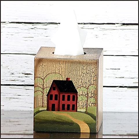 Tissue Box Cover - Primitive House / Home with Weeping Willow Tree - Perfect for Primitive and Country Decorating by Your Heart's Delight