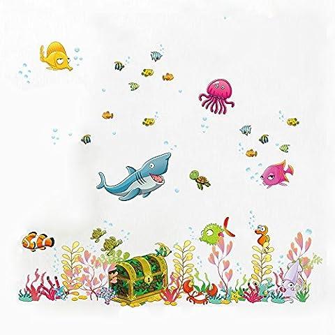Maxs décoratif patte autocollante en vinyle Sticker mural pour enfant bamx Pièces Chambre amovible Stickers–La mer bleu profond