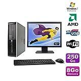 Lot PC HP Compaq 6005 Pro SFF AMD 3GHz 8gb 250Go Burner WIFI Win 7 Pro + 19