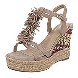 Damen Schuhe, B130L-SP, Sandaletten, FRANSEN KEIL Wedges Pumps, Synthetik in Hochwertiger Wildlederoptik, Beige, Gr 40