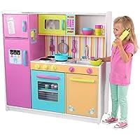 KidKraft 53100 Cucina Giocattolo in Legno per Bambini Deluxe Big And Bright con Telefonino e Accessori di Gioco Inclusi - Colori Vivaci