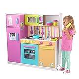 KidKraft 53100 Cocina de juguete Deluxe Big and Bright de madera para niños con accesorios de juego y teléfono de juguete incluidos - Colores brillantes