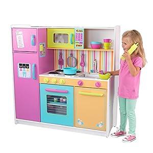 KidKraft- Cocina de juguete de madera Deluxe Big and Bright, para niños, con accesorios para juegos de dramatización incluidos, Color Multicolor (53100 )