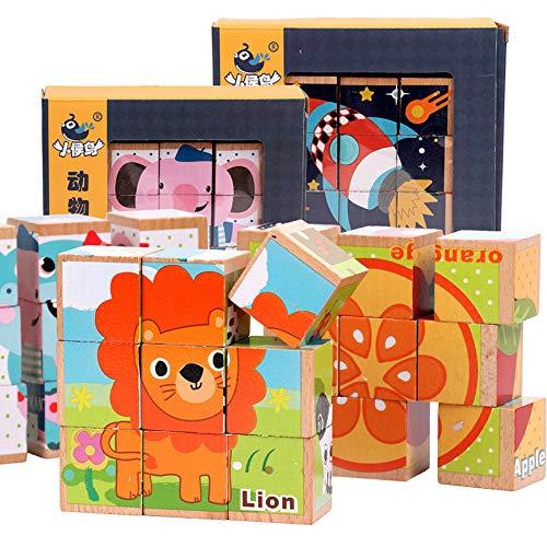lustiges Spielzeug, ALIKEEY Kinder Holz 9 Blöcke sechs Seiten Bausteine Dimensional Puzzle