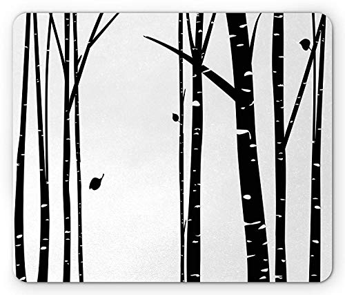Drempad Gaming Mauspads Custom, Birch Tree Mouse Pad, Abstract Monochrome Grove with Leafless Trees in Winter Season Woodland, Standard Size Rectangle Non-Slip Rubber Mousepad, Black and White