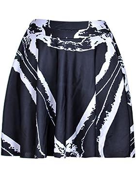 Honghu Verano Classic Mini Corto Plisada Impresión Falda para Mujer