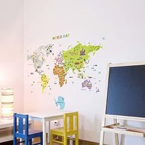 ambiance live wandtattoo riesige weltkarte f r kinder k che haushalt. Black Bedroom Furniture Sets. Home Design Ideas