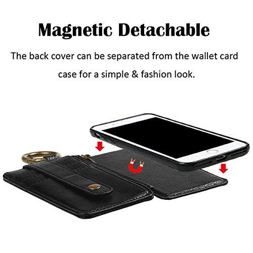 """Coque pour iPhone 6/6S, xhorizon étui en Cuir de Haute Qualité Portefeuille Porte-monnaie Magnétique Amovible Détachable Séparable avec des fentes de cartes pour iPhone 6 6S [4.7""""] Noir"""
