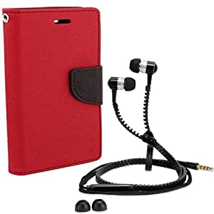 Aart Fancy Diary Card Wallet Flip Case Back Cover For Apple I phone 5-(Red) + Zipper earphones/Hands free With Mic *Stylish Design* for all Mobiles By Aart store