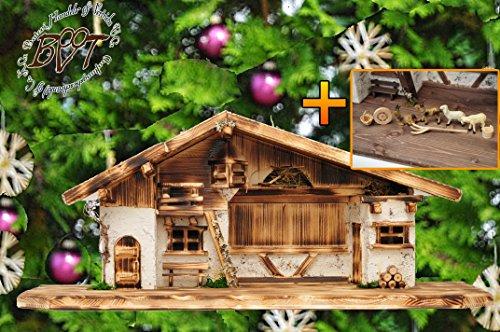 Krippe Antik (BTV ÖLBAUM-Krippen aus Naturholz Große XXL 70 cm Krippenstall-Weihnachtskrippe, mit PREMIUM-DEKOSET mit Krippen-Tieren Schafe und Ziegen, MASSIVHOLZ historisch geflammt, Antik-Optik)