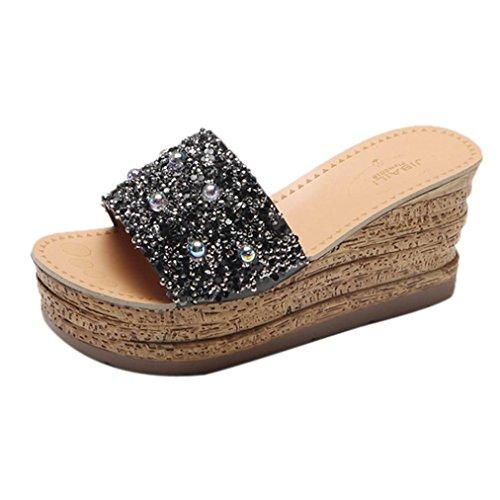 Beauty-luo sandalo donna, sandali donna con zeppa estive elegant scarpe donna estive eleganti scarpe donna tacco medio -le donne flip flop cave zeppa tacco alto scarpe donna estate sandali (37, a)