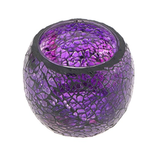 osaikglas Teelichthalter Teelicht Windlicht Kerzenhalter Mosaikglas Kugel bunt Ornament - Lila ()