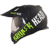 Broken Head made2rebel Cross-Helm grün mit Visier | Enduro-Helm - MX Motocross Helm mit Sonnenblende - Quad-Helm (S 55-56 cm)