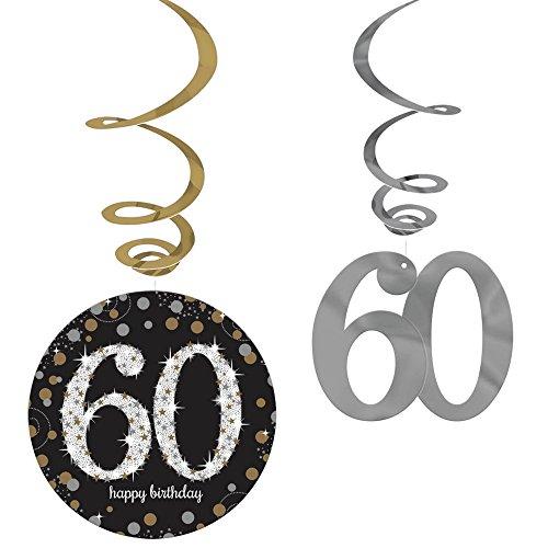 Amscan Riesen Girlande 60 Geburtstag PVC Swirl Spiralen Schwarz Gold 12er Dekoset