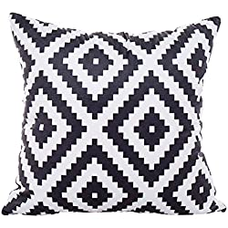CUIGU Funda de Cojín con Diseño geométrico y Rayas Minimalistas, 45 x 45 cm, Color Blanco y Negro, no.2, Talla única