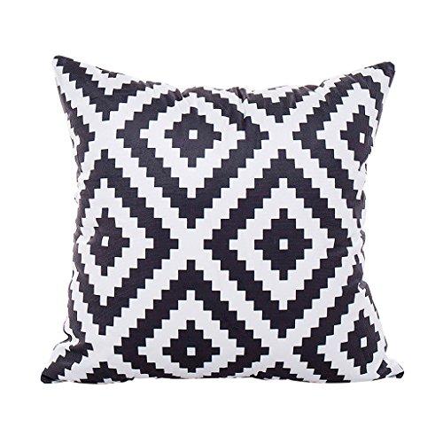 CUIGU Funda de Cojín con Diseño geométrico y Rayas Minimalistas, 45 x 45 cm, Color Blanco y Negro...