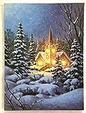 Jürgen Schleiß Konfektion 2erSet LED-Bild Leinwandbild Leuchtbild Wandbild 15x20cm flackernd Wellnes Landschaft Kerze Weihnachten Winter