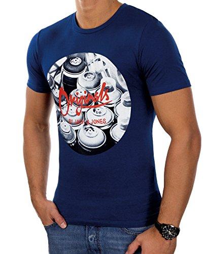 Jack & Jones Herren T-Shirt Kurzarmshirt Print Estate Blue