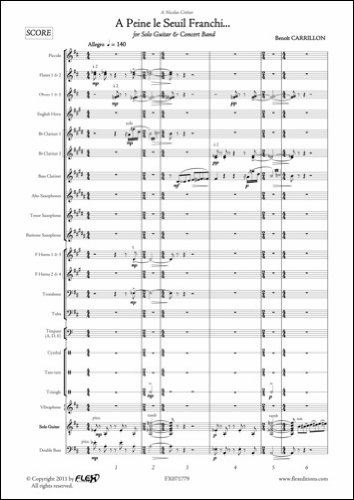 Descargar Libro PARTITURA CLASICA - A Peine le Seuil Franchi... - B. CARRILLON - Solo Guitar and Concert Band de CARRILLON Benoît