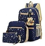 Tibes millésime toile sac à dos + sac à bandoulière + bourse 3pcs Bleu