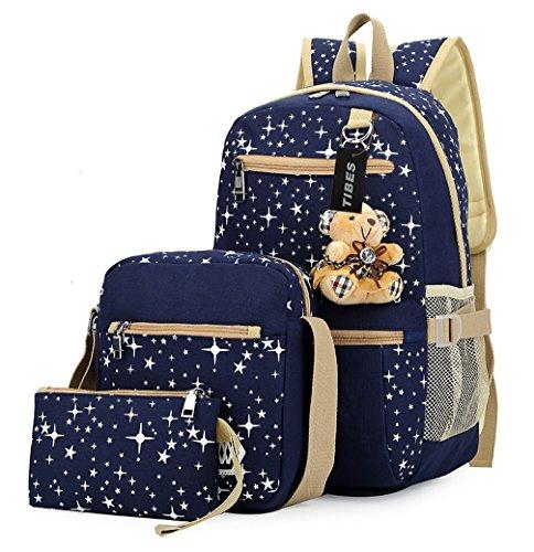 Tibes Zaino per bambini borse a zainetto epoca tela zaino + borsa a tracolla + borsa 3pcs Blu
