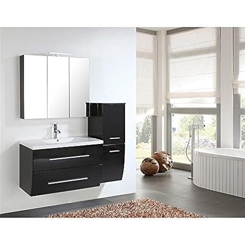 Home Deluxe | Badmöbel-Set | Bremerhaven | Schwarz Hochglanz | inkl. Waschbecken und komplettem Zubehör