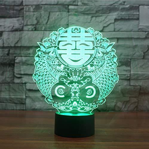 Illusion Lampe Nachtlicht 3D optische Täuschung Lampe Chinesische Hochzeit Zeichen Touch Tisch 7 Farbwechsel Schreibtisch Neuheit Led er Todesstern Led Licht Drop Ship